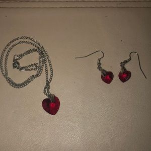 RED CRYSTAL NECKLACE AND EARRING SET